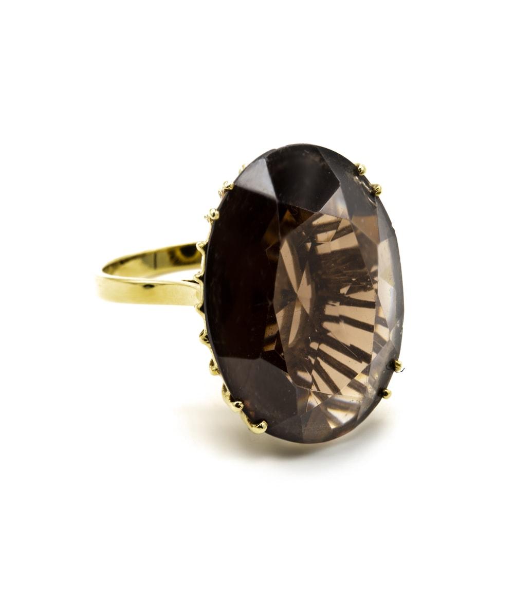 Ring Rauchquarz 585er Gelbgold