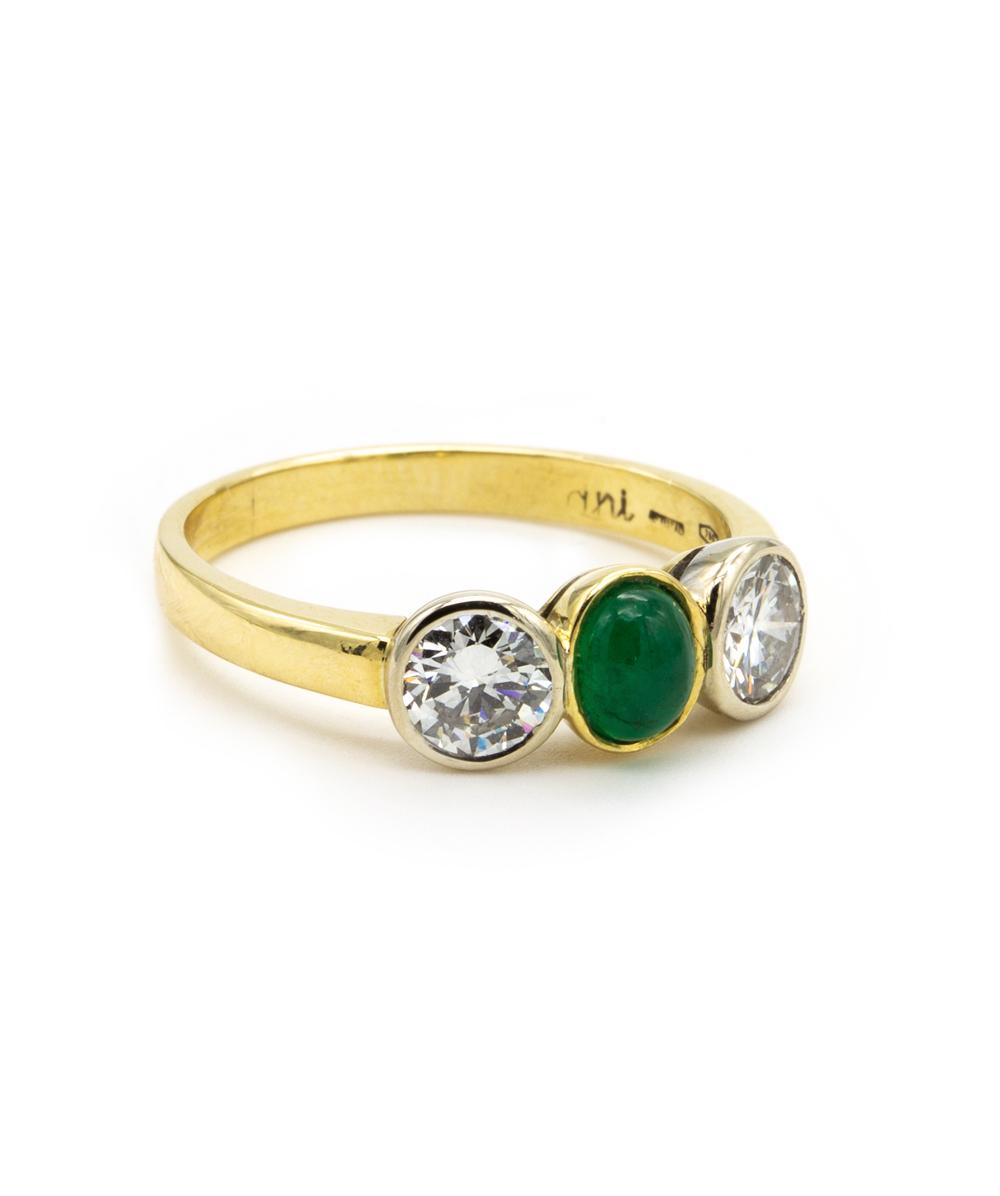 Ring Brillant Smaragd 750er Gelbgold