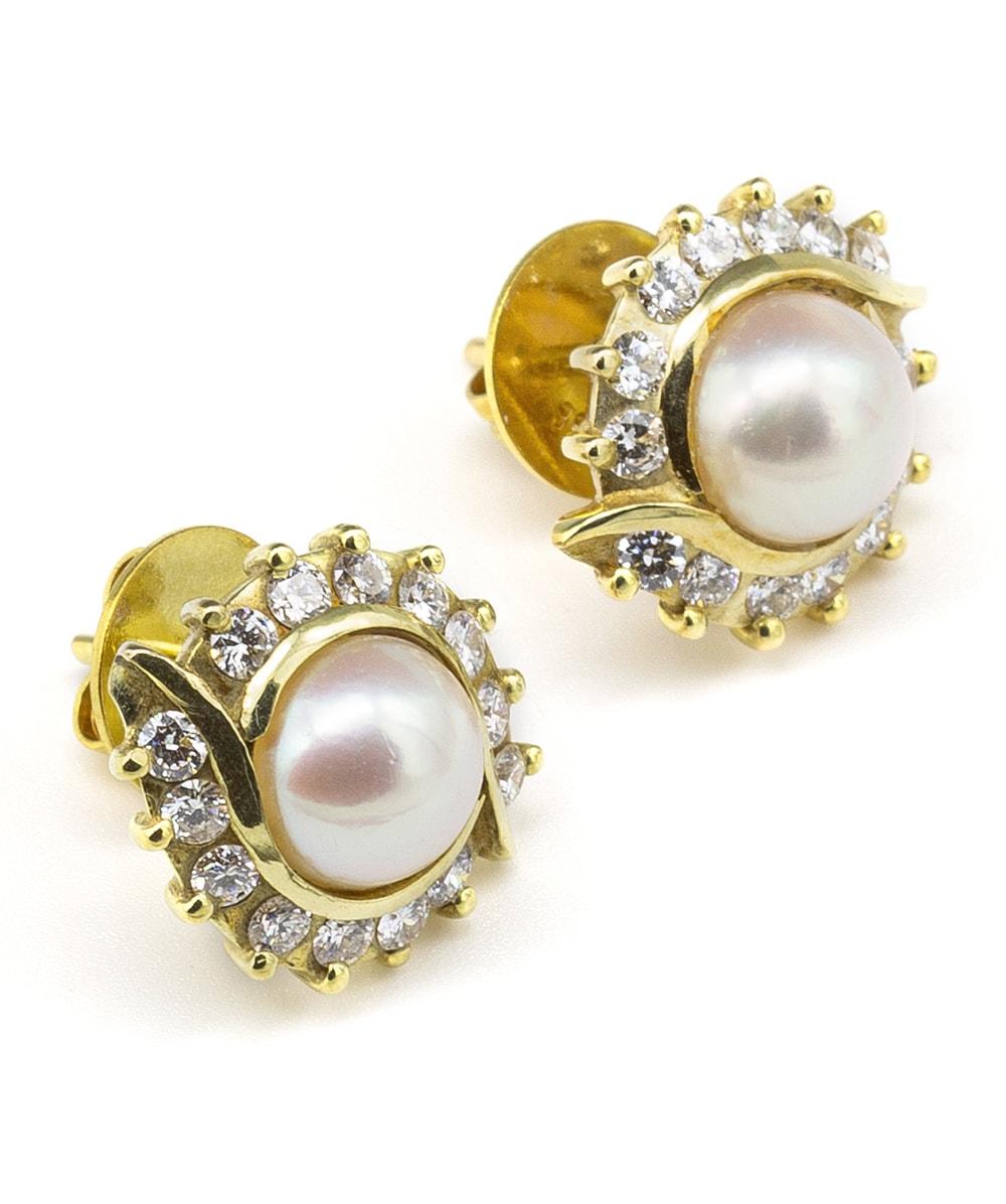 Ohrstecker mit Perle und Brillanten 585er Gold
