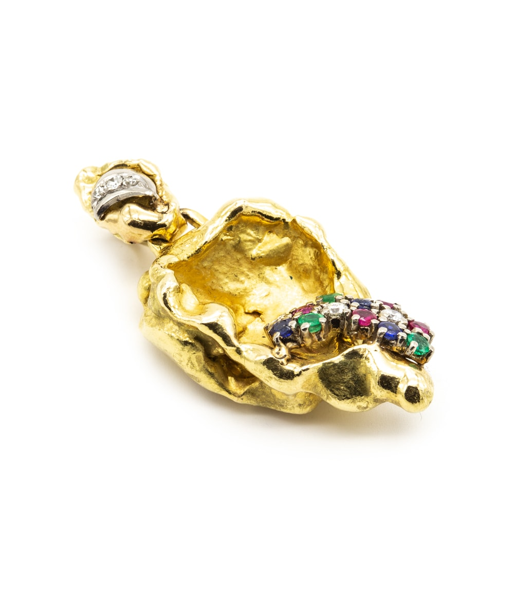 Anhänger Diamant Multi Farbsteine 750er Gold