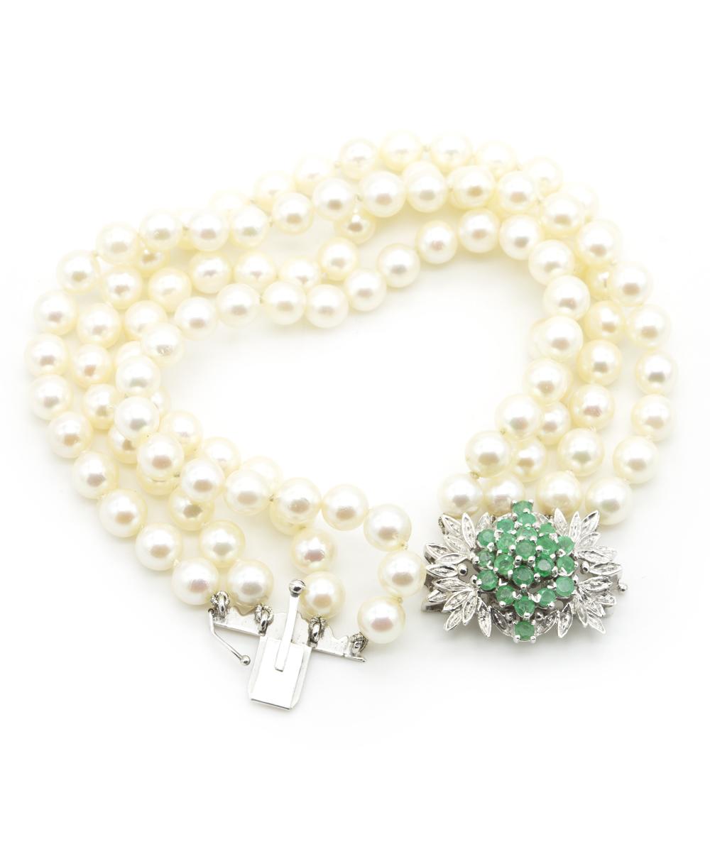 Armband 4-reihig mit Perlen und Smaragden 585er Weißgold