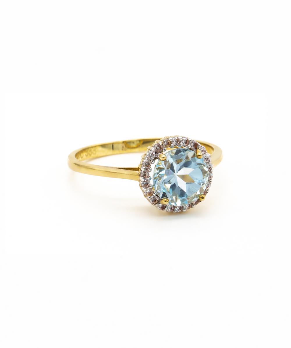 Ring Blautopas 333er Gold