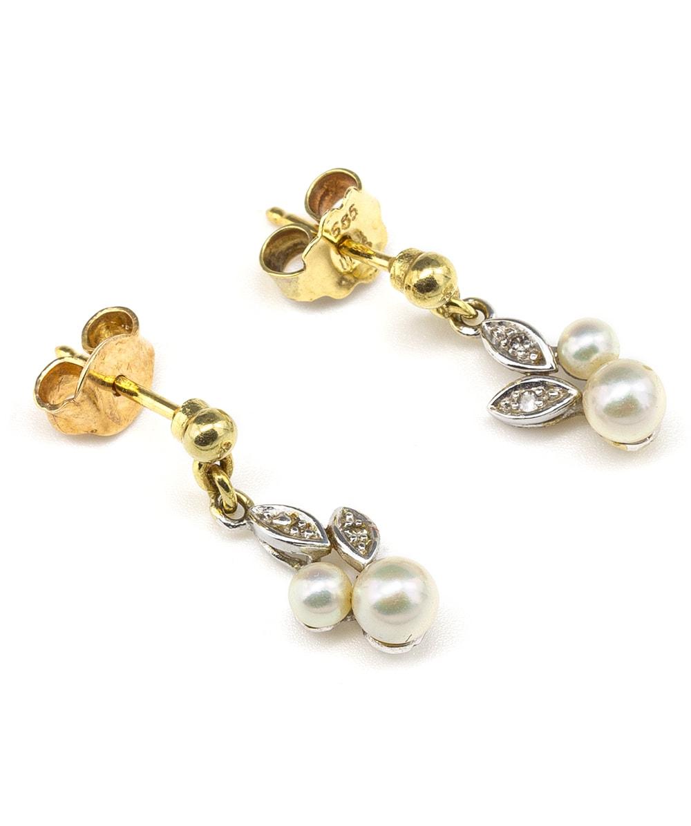 Ohrstecker mit Perle und Diamanten 585er bicolor