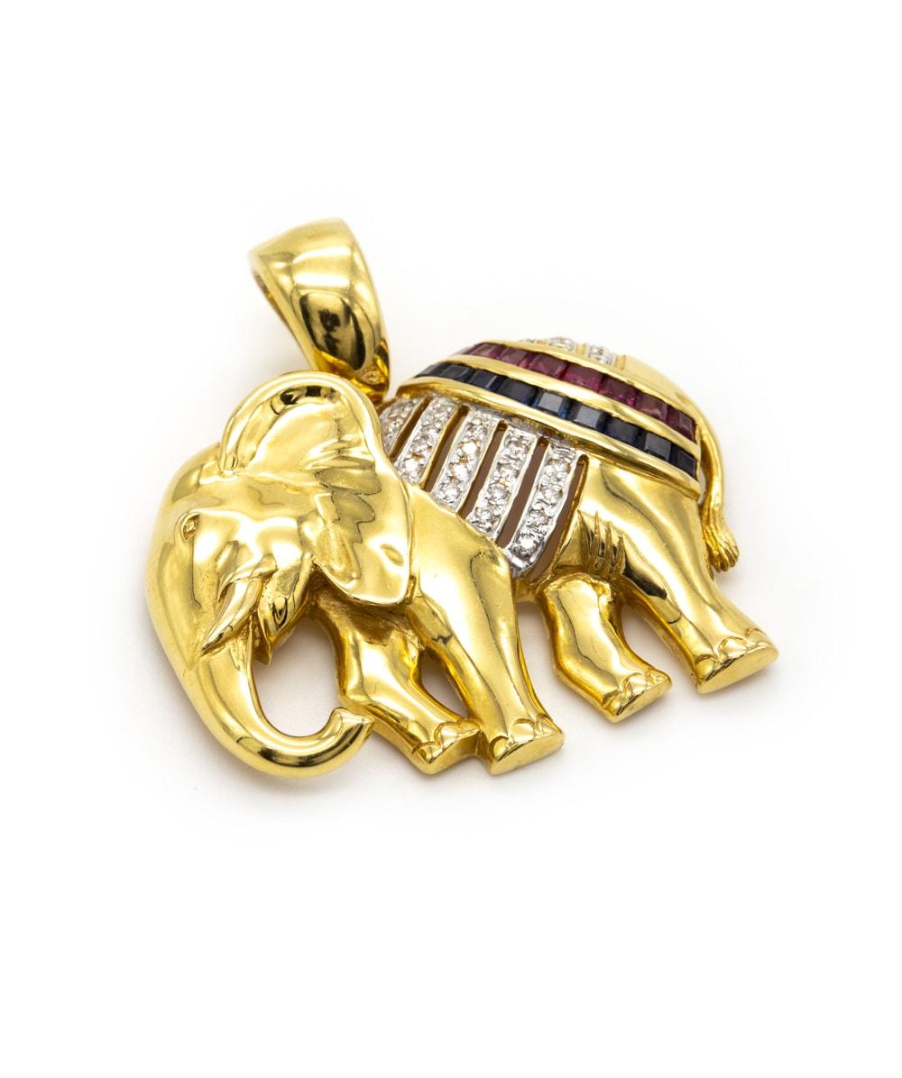 Anhänger Diamant  Elefant 750er Gold