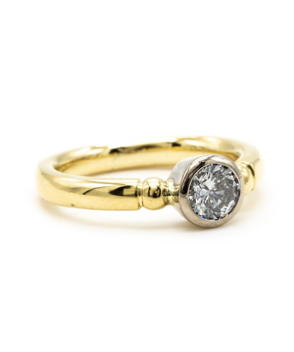 Ring Brillant Solitär 750er Gold bicolor