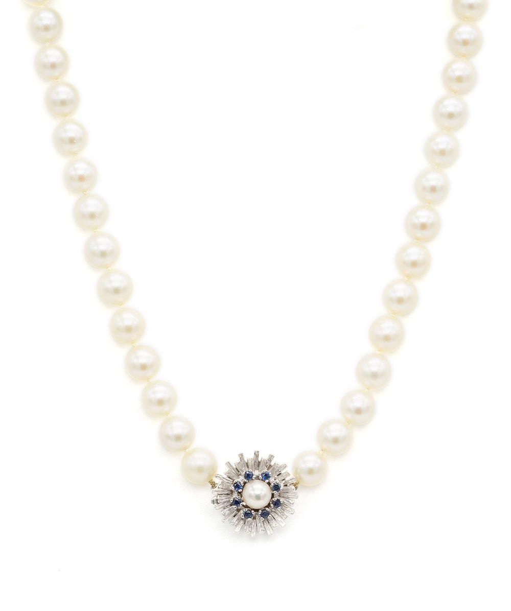 Süßwasser Perlenkette mit Schloss 585er Weißgold
