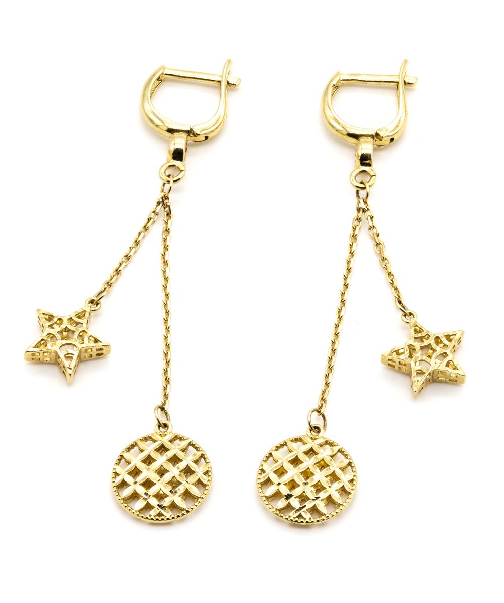 Ohrhänger mit Zirkonia 585er Gelbgold