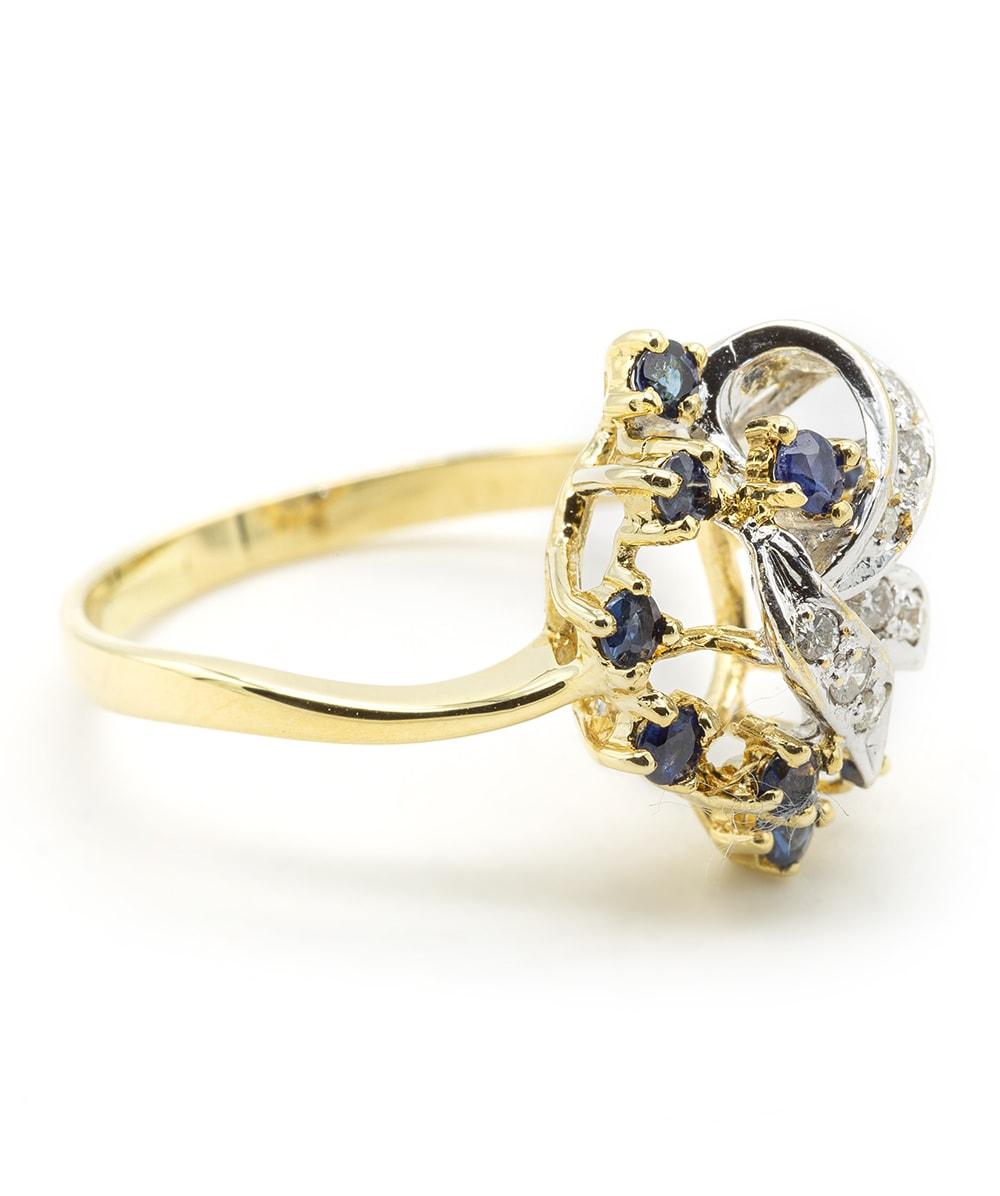 Ring mit Brillanten und Saphiren 585er Gold bicolor