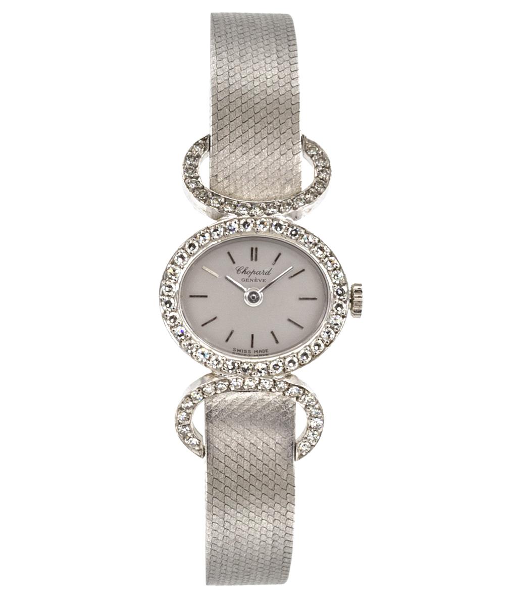 Damenuhr Chopard Geneve Handaufzug mit Diamanten 750er Weißgold
