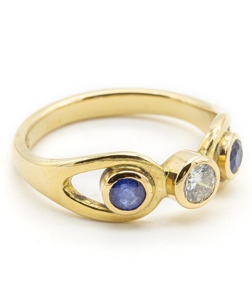 Ring mit Brillanten und Farbsteinen 750er Gelbgold