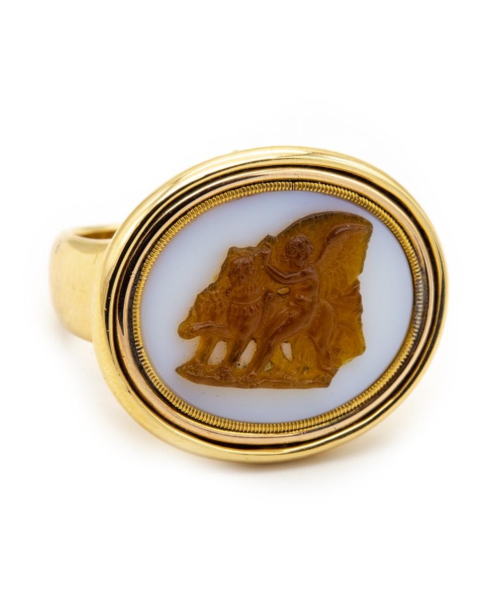 Ring Achat Bernstein 750er Gelbgold