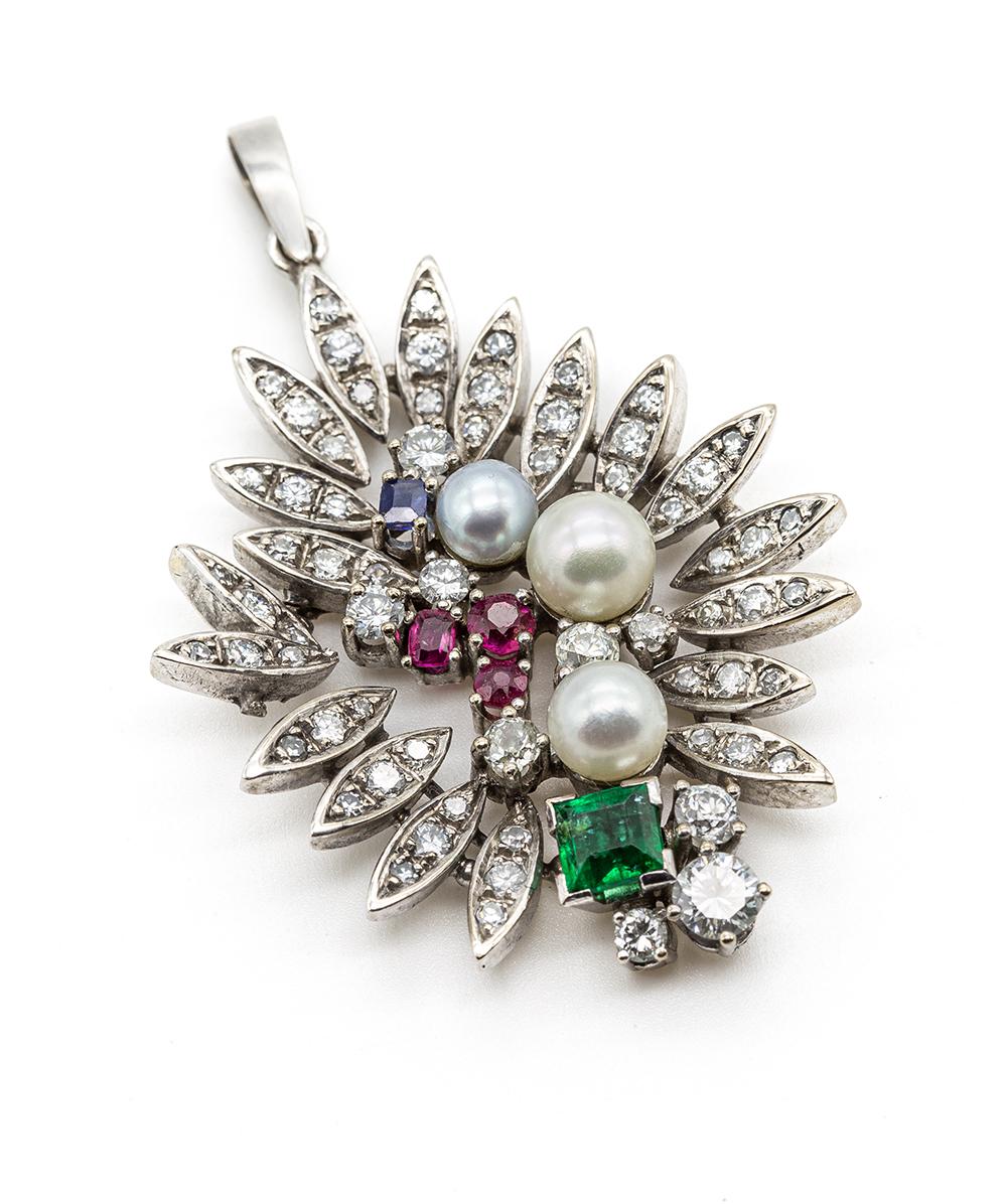 Anhänger mit Perlen, Smaragden, Brillanten, Saphiren, Rubinen und Diamanten 750er Gold
