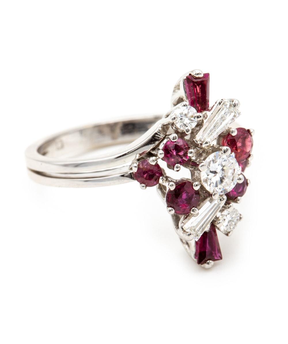 Ring Brillant Diamant Rubin 585er Weißgold