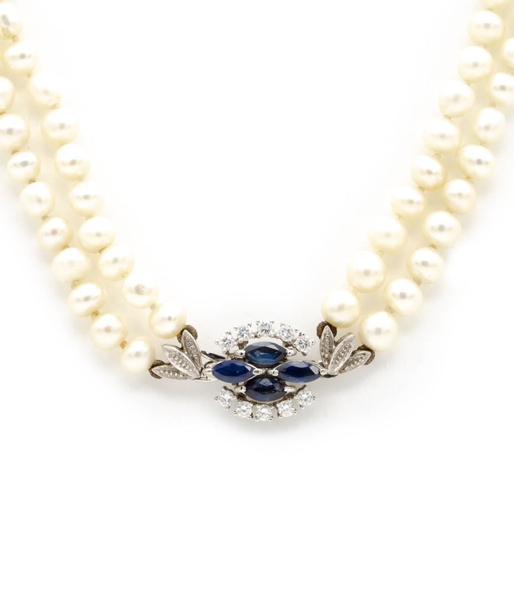 Kette Perlen Brillant Saphir 750er Weißgold