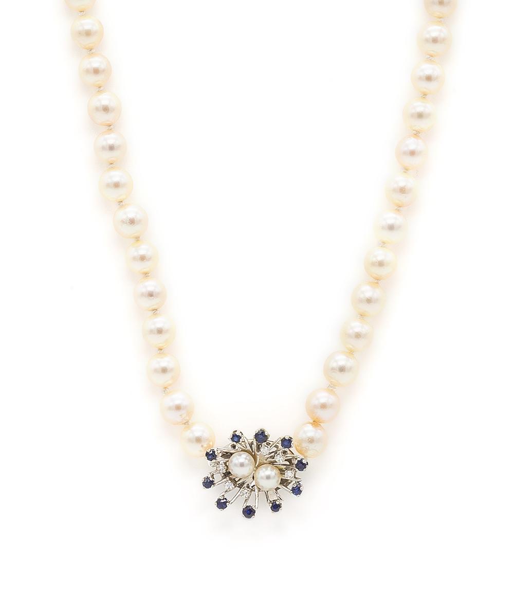 585er Weißgold Perlenkette