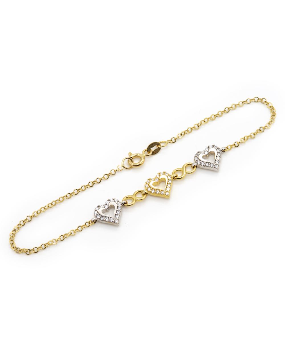 Armband Zirkonia 585er Gold bicolor