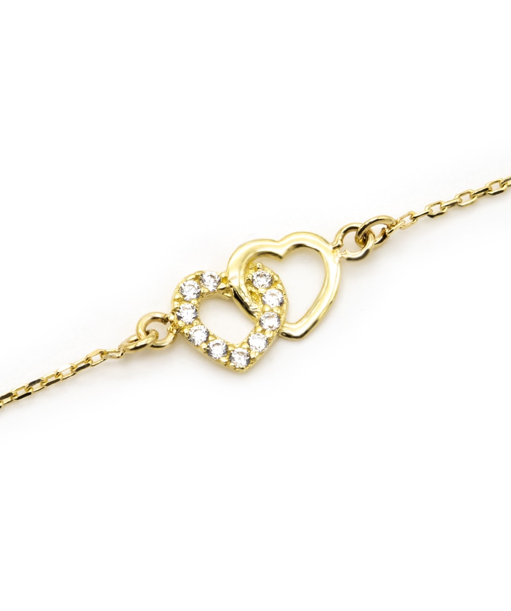 Armband mit Zirkonia Herzen 333er Gold