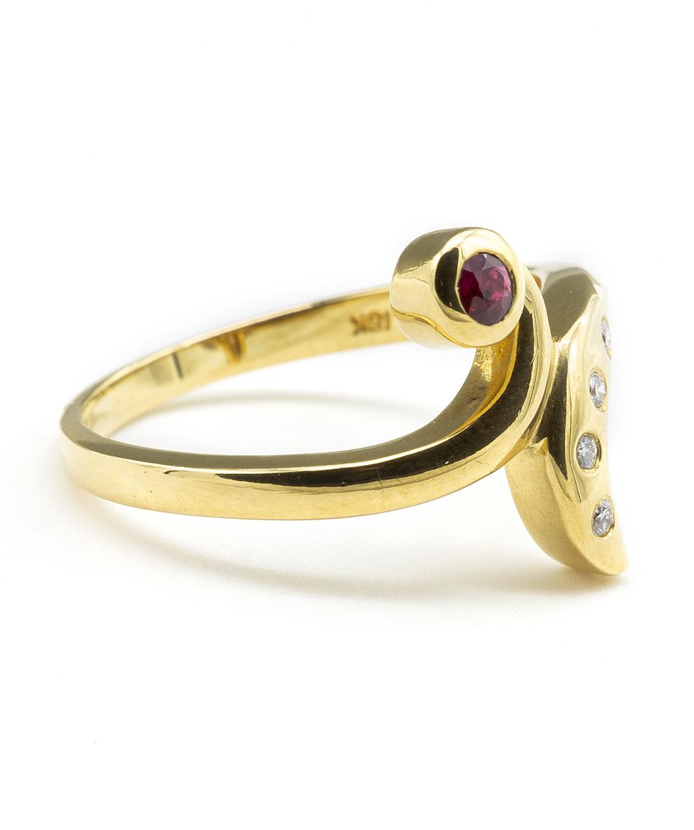 Ring mit Brillanten und einem Rubin 750er Gold
