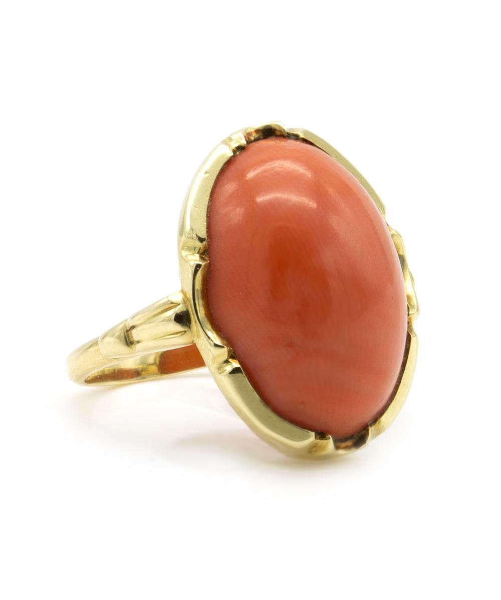 Ring Koralle 585er Gelbgold