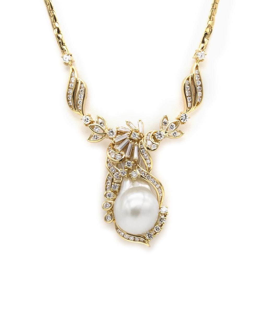 Collier mit Brillanten / Diamanten und Perle 750er Gold