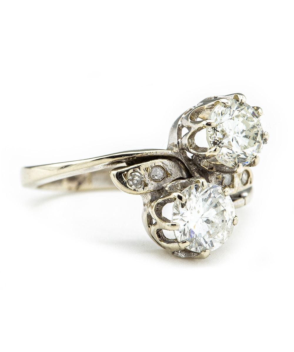 Ring mit Brillanten und Diamanten 585er Weißgold