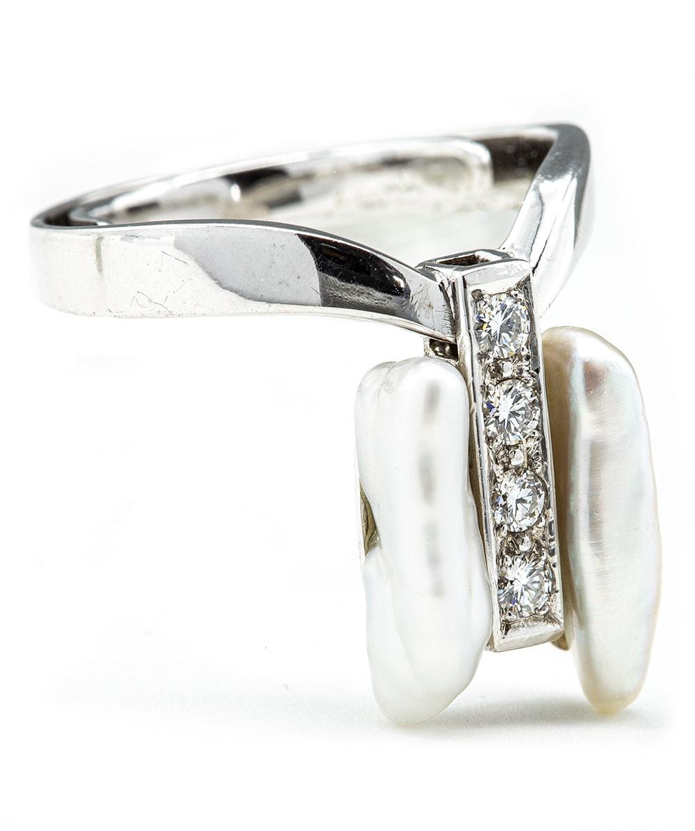 Ring mit Brillanten und  Perlmutt 585er Weißgold