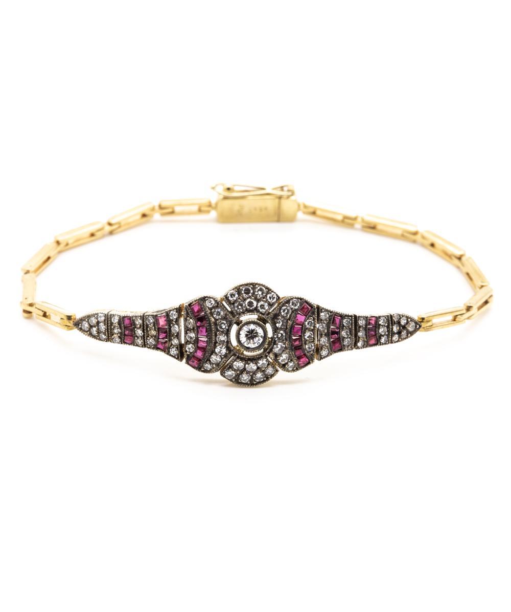 Armband Diamant Rubin 750er Gelbgold