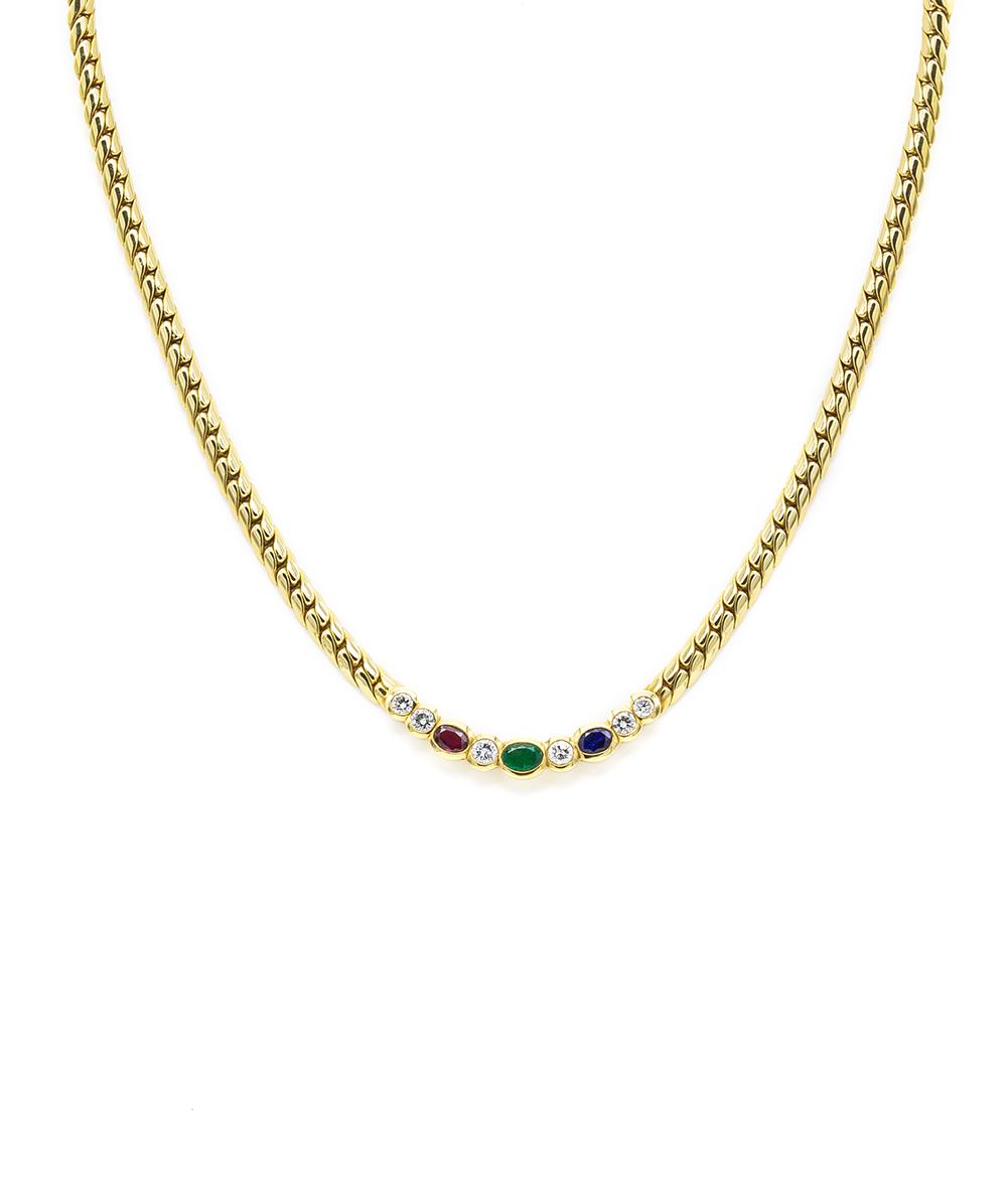 Collier mit Saphiren, Smaragden, Rubinen und Brillanten 750er Gold