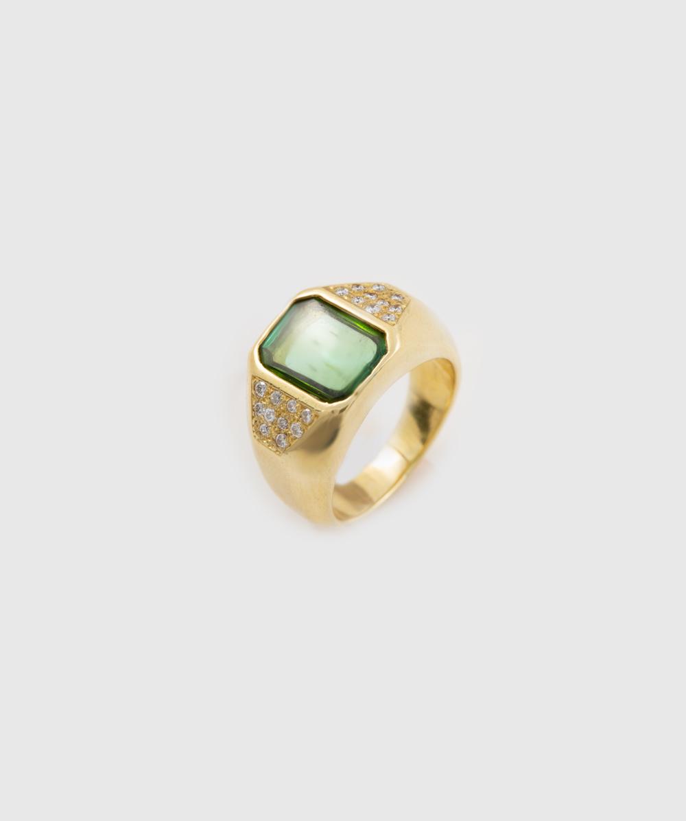 Ring Brillanten Peridot 750er Gelbgold