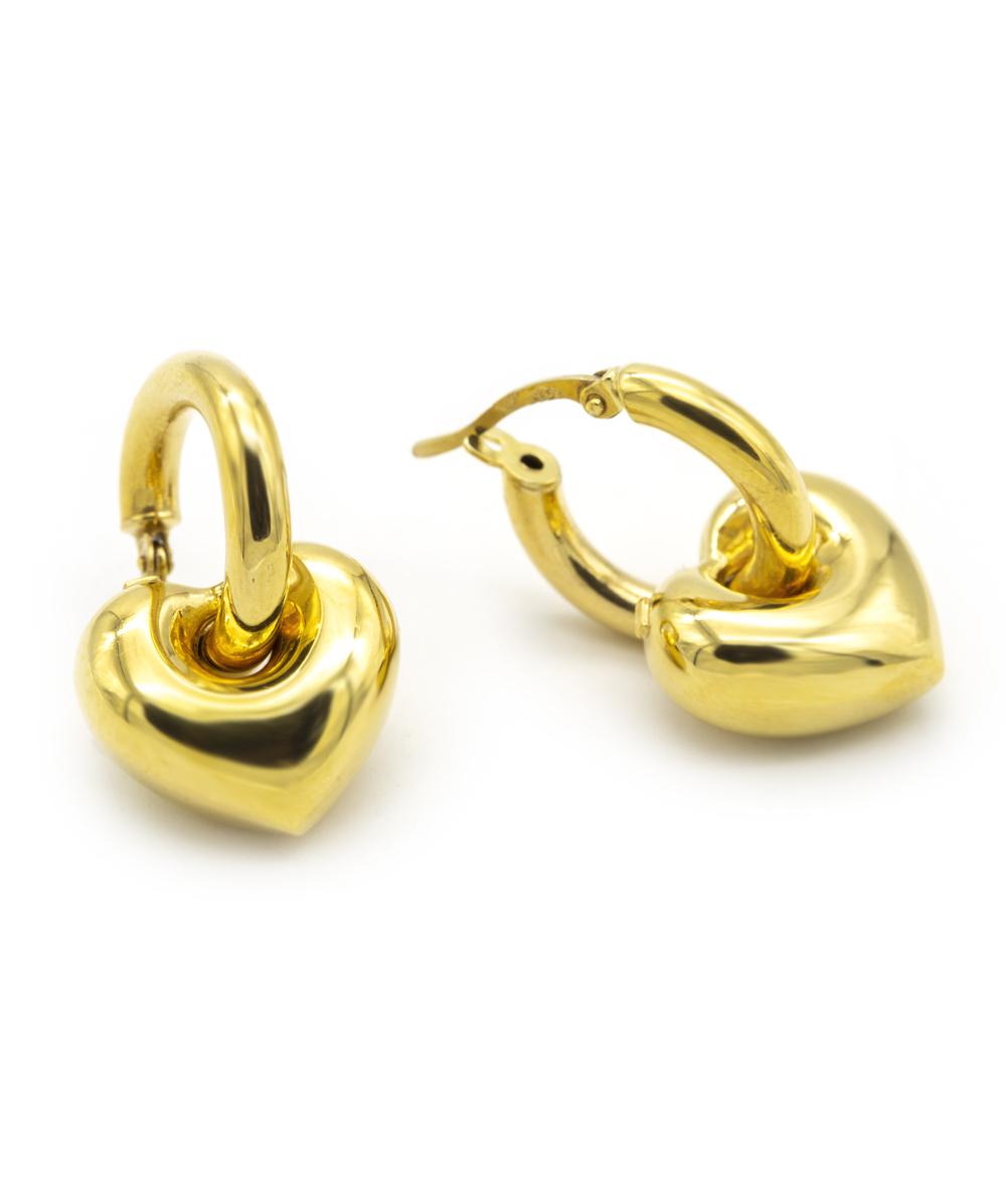 Creolen mit Herzanhänger 585er Gold