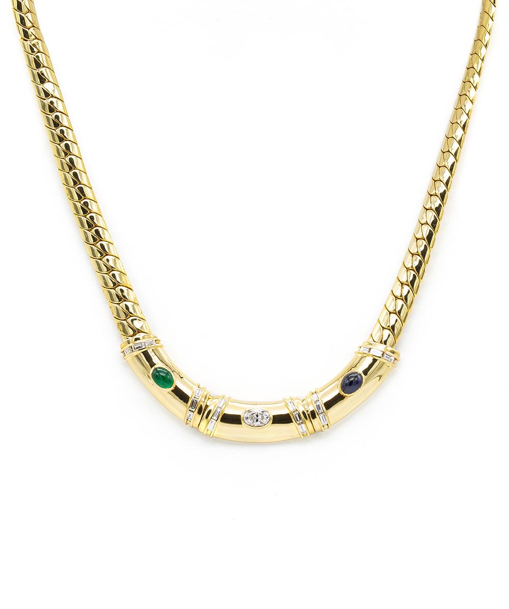 Collier mit Saphir, Smaragden und Diamanten 750er Gold