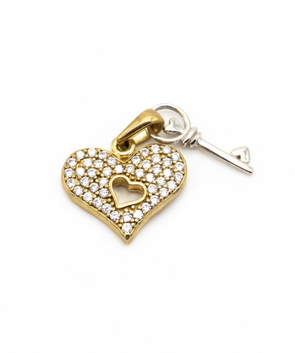 Anhänger Zirkonia 333er Gold bicolor Herz mit Schlüssel