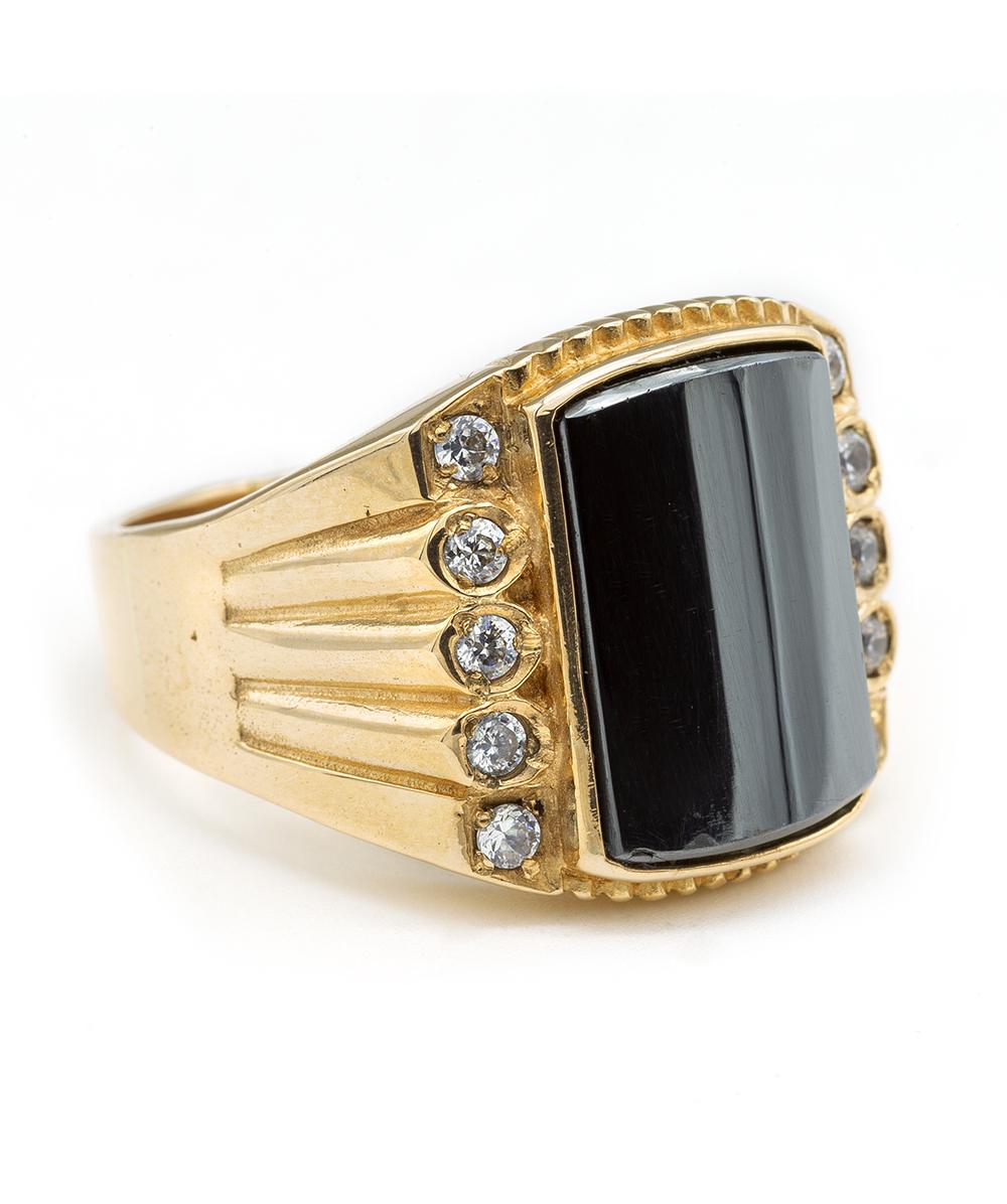 Ring mit Hämatit und Zirkonia 585er Gold