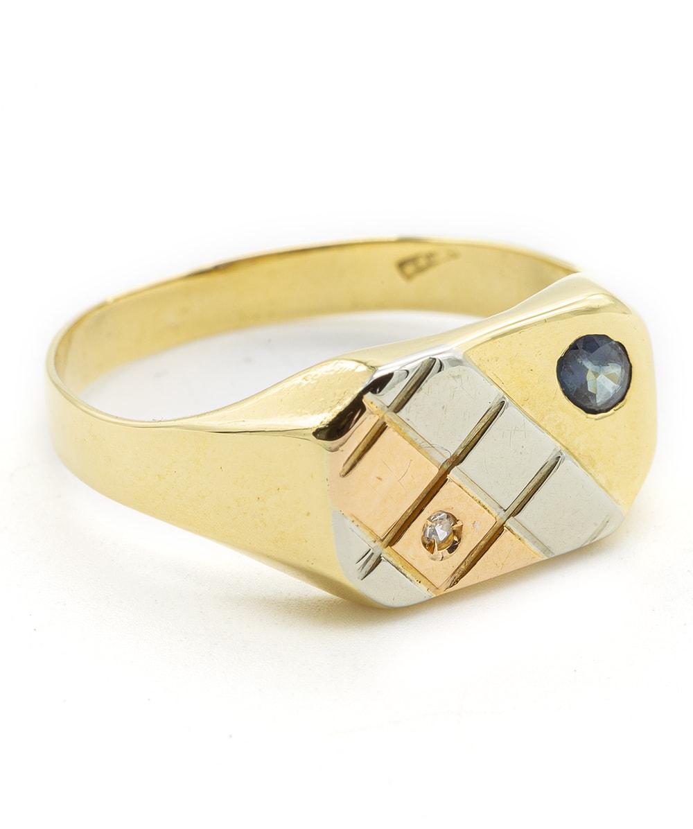 Ring mit Diamant 750er Gold tricolor