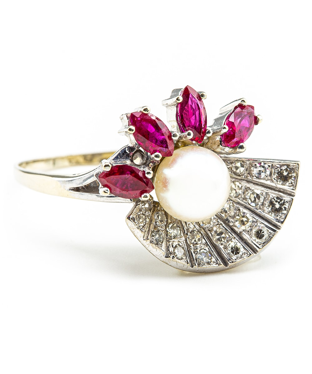 Ring mit Perle Diamanten 585er Weißgold