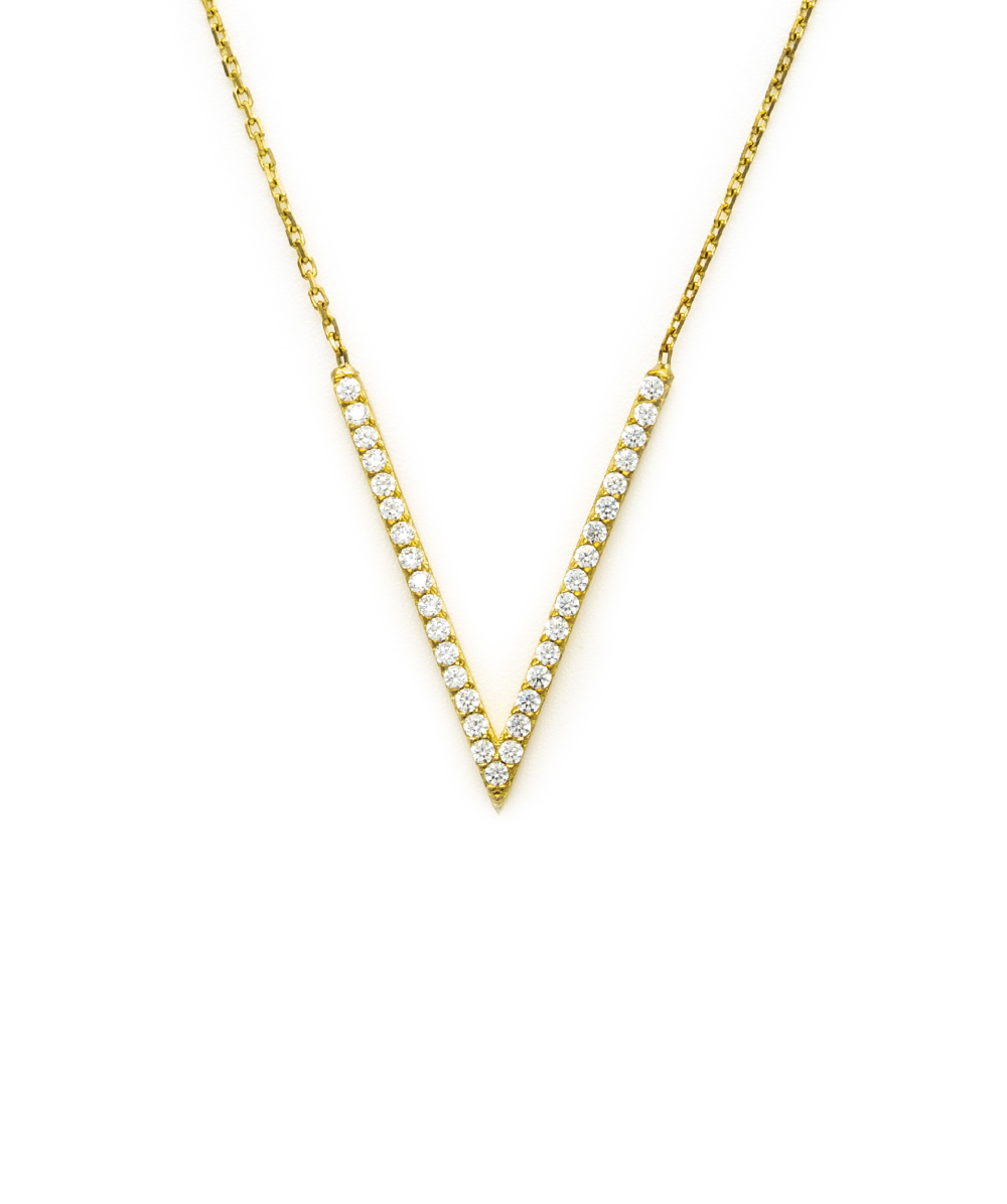 Halskette Zirkonia 333er Gelbgold Dreieckanhänger