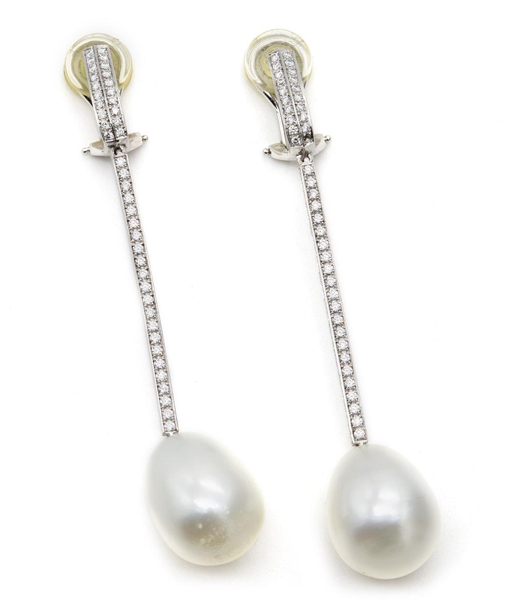 Süßwasser Perlen Ohrclips mit Brillanten 750er Weißgold
