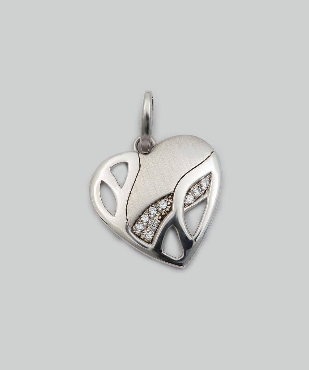 Anhänger Zirkonia Herz , mattiert und poliert 925er Silber