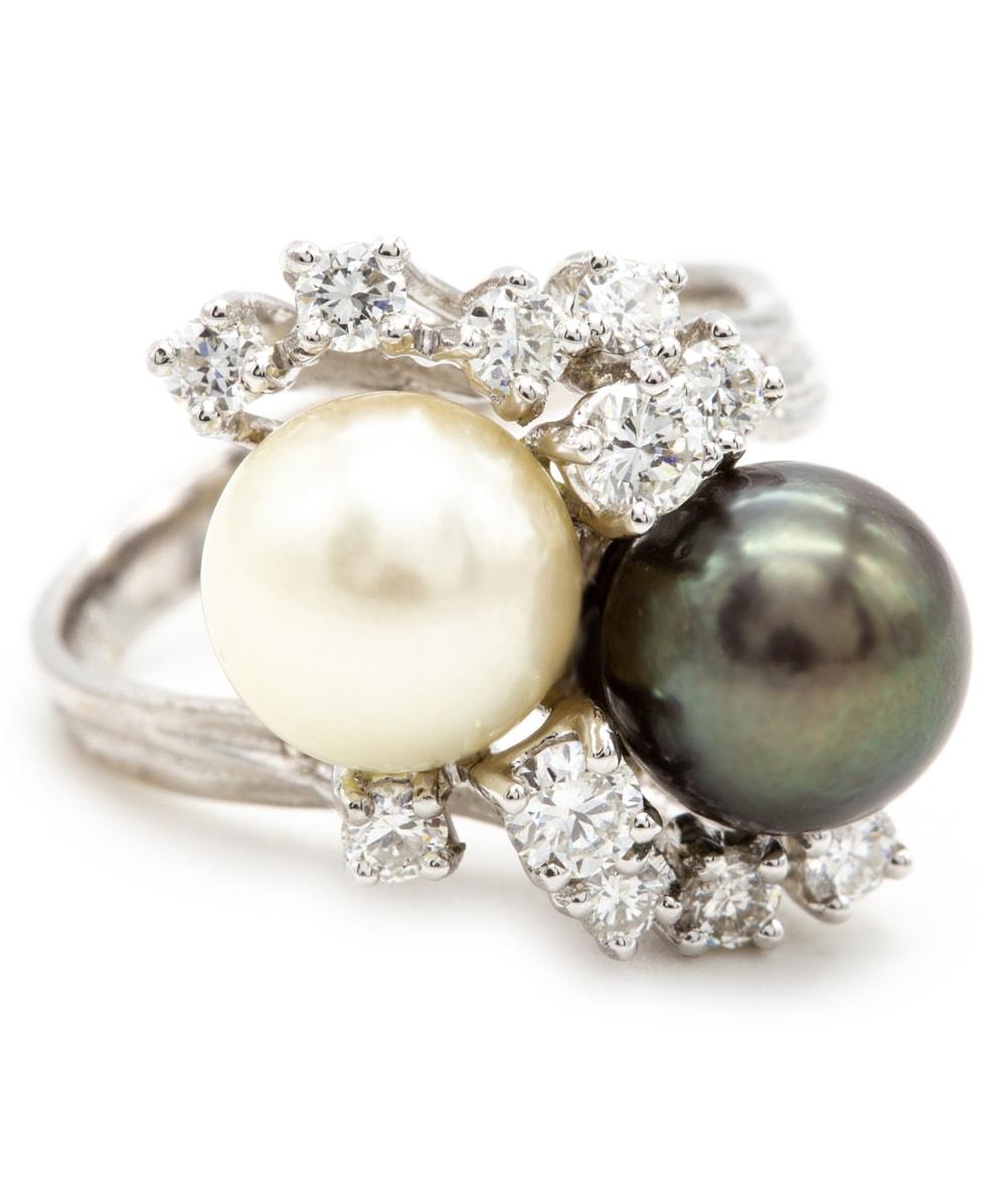 Ring mit Perlen und Brillanten 585er Weißgold