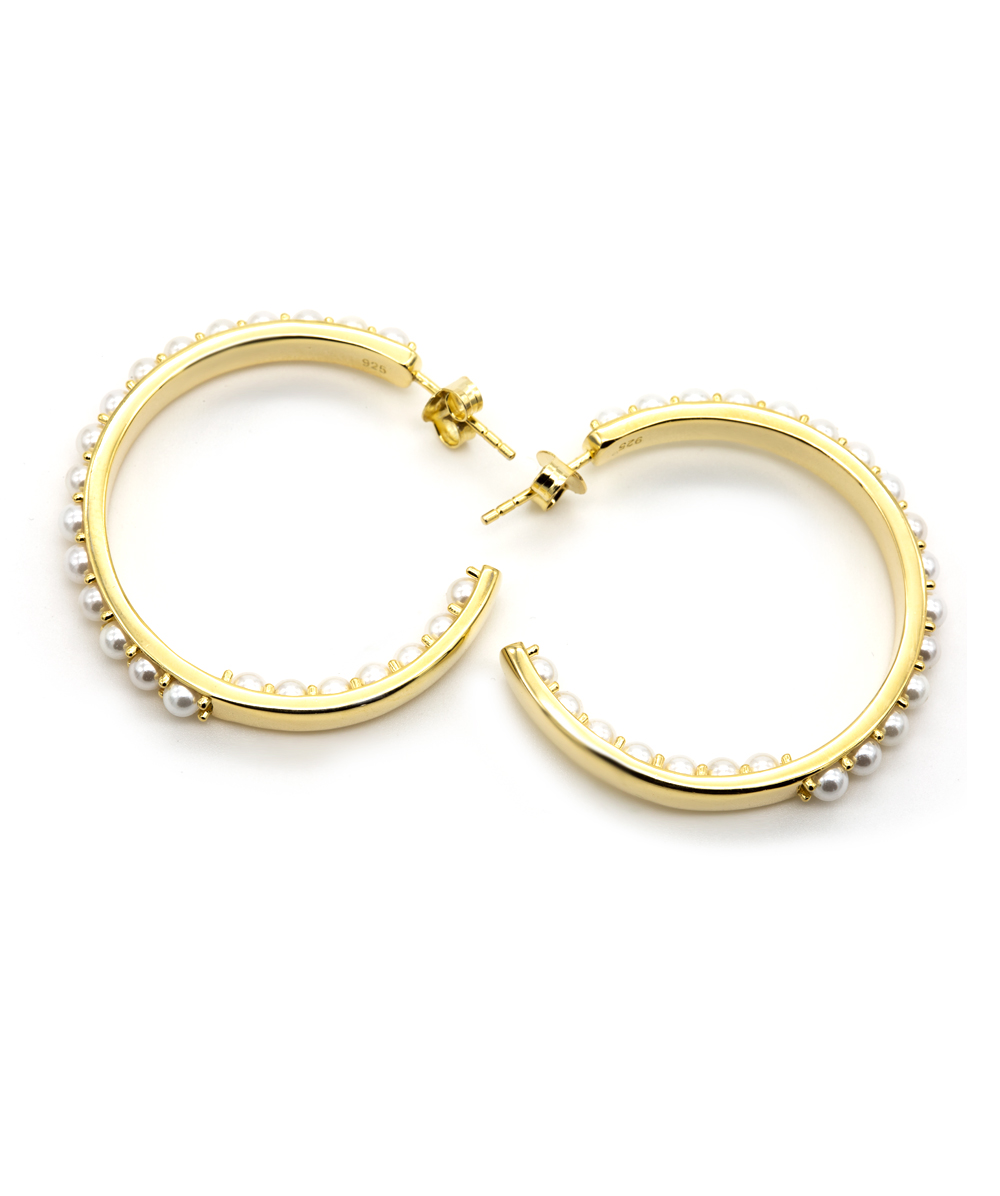 Creolen mit Perlen 925er Silber vergoldet