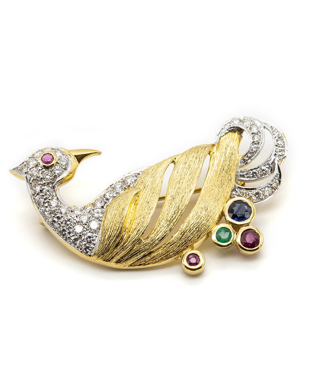 Brosche mit Brillanten, Smaragden, Rubinen und Saphiren 750er Gold