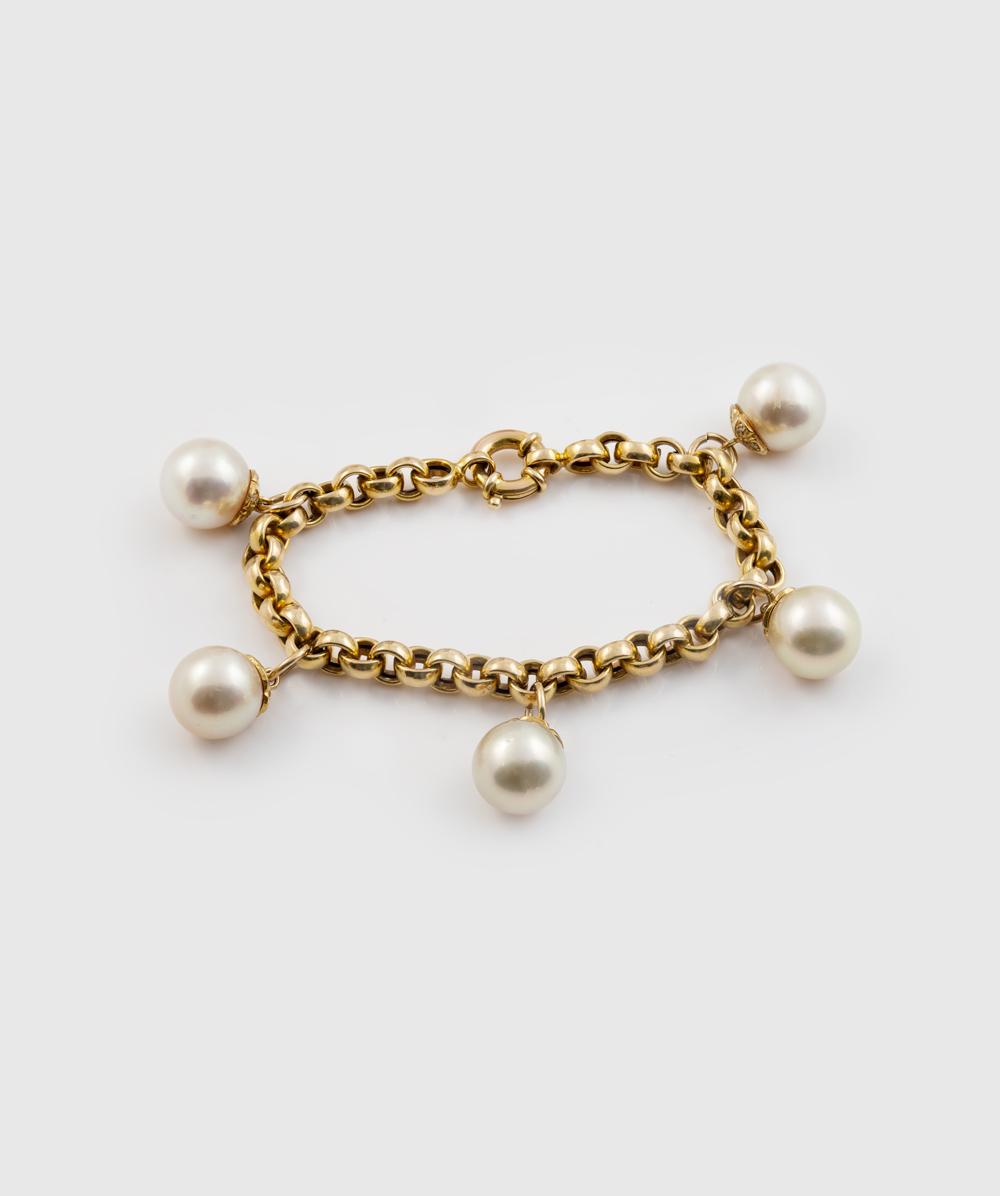 Armband Brillant Perle 585er Gold