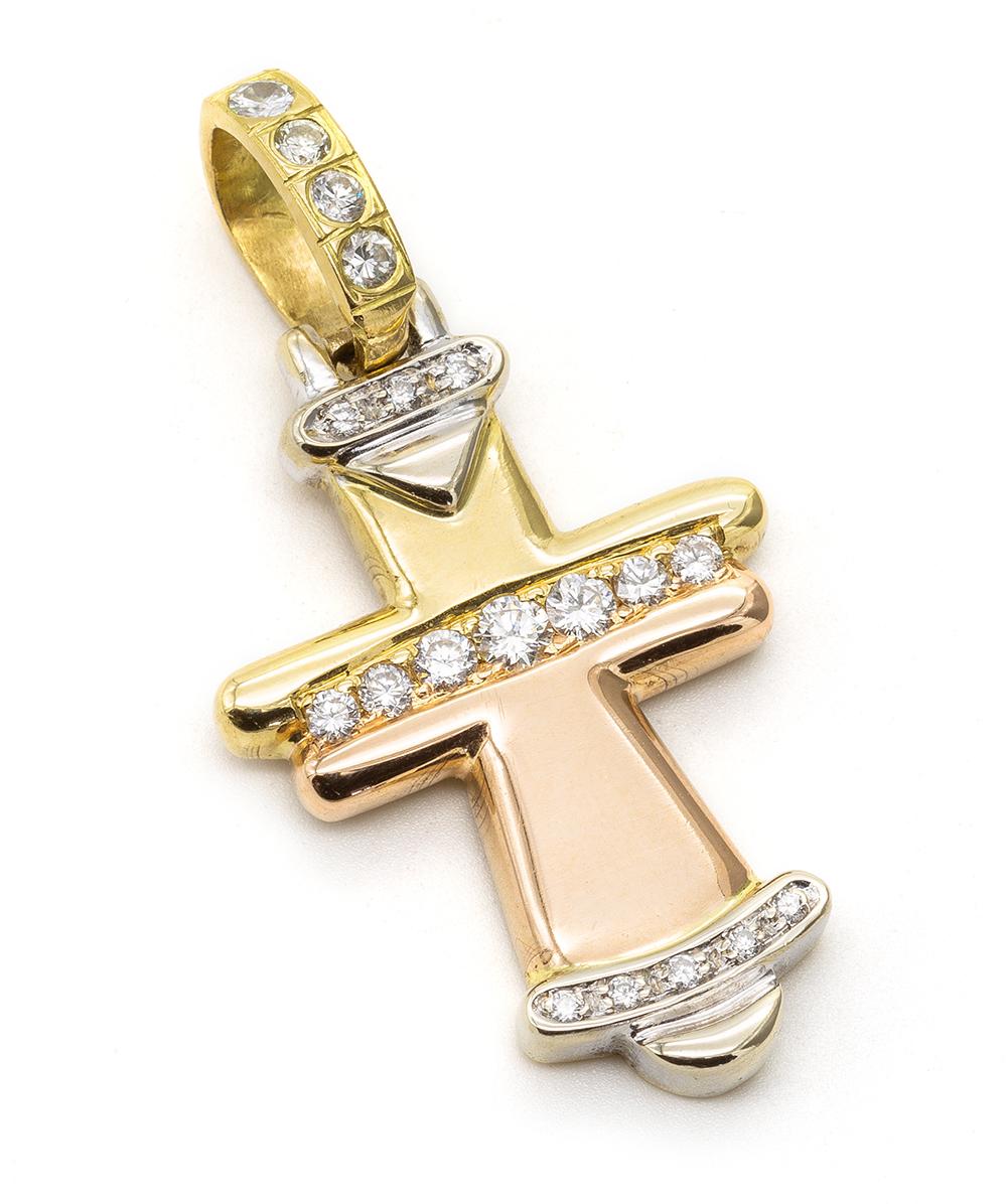 Kreuzanhänger mit Brillanten 750er Gold tricolor