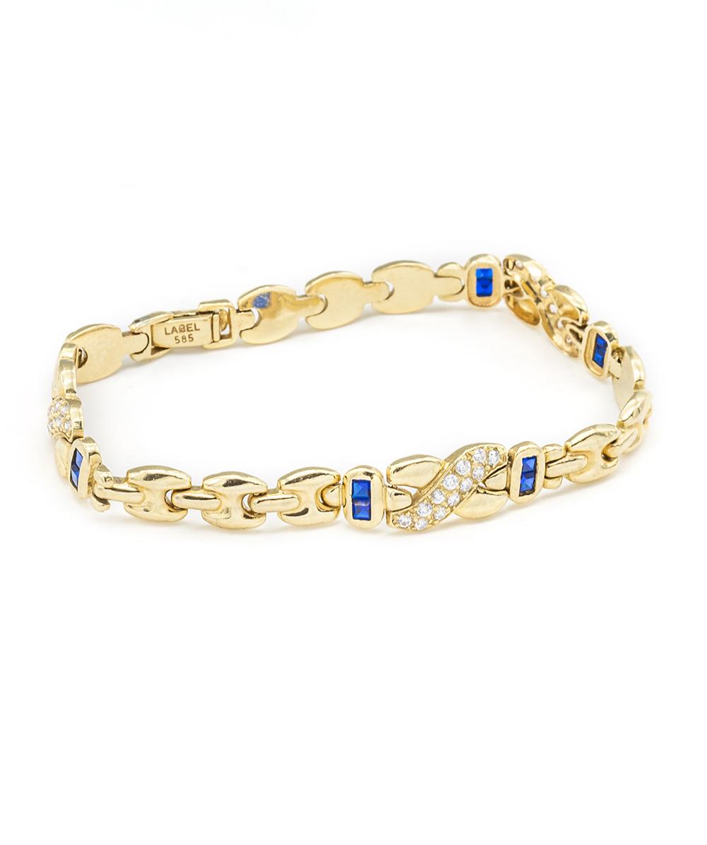 Armband mit Zirkonia und Farbsteine 585er Gold