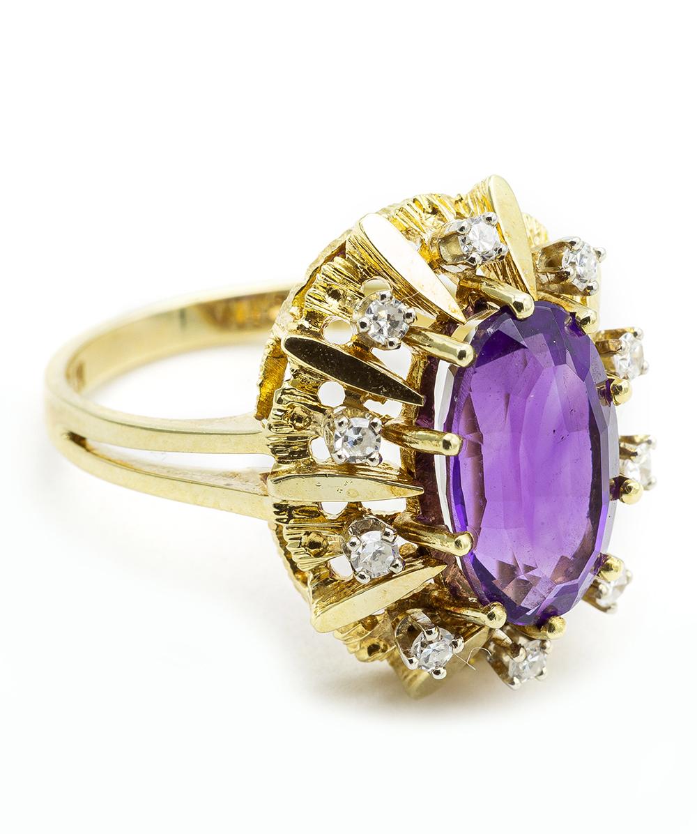 Ring mit Brillanten und Echt Amethyst 585er Gelbgold