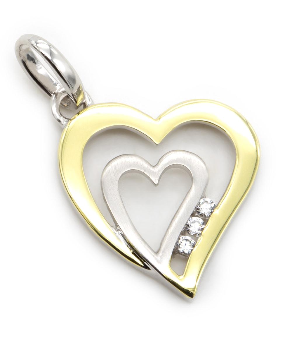 Anhänger Herz mit Zirkonia 925er Silber vergoldet
