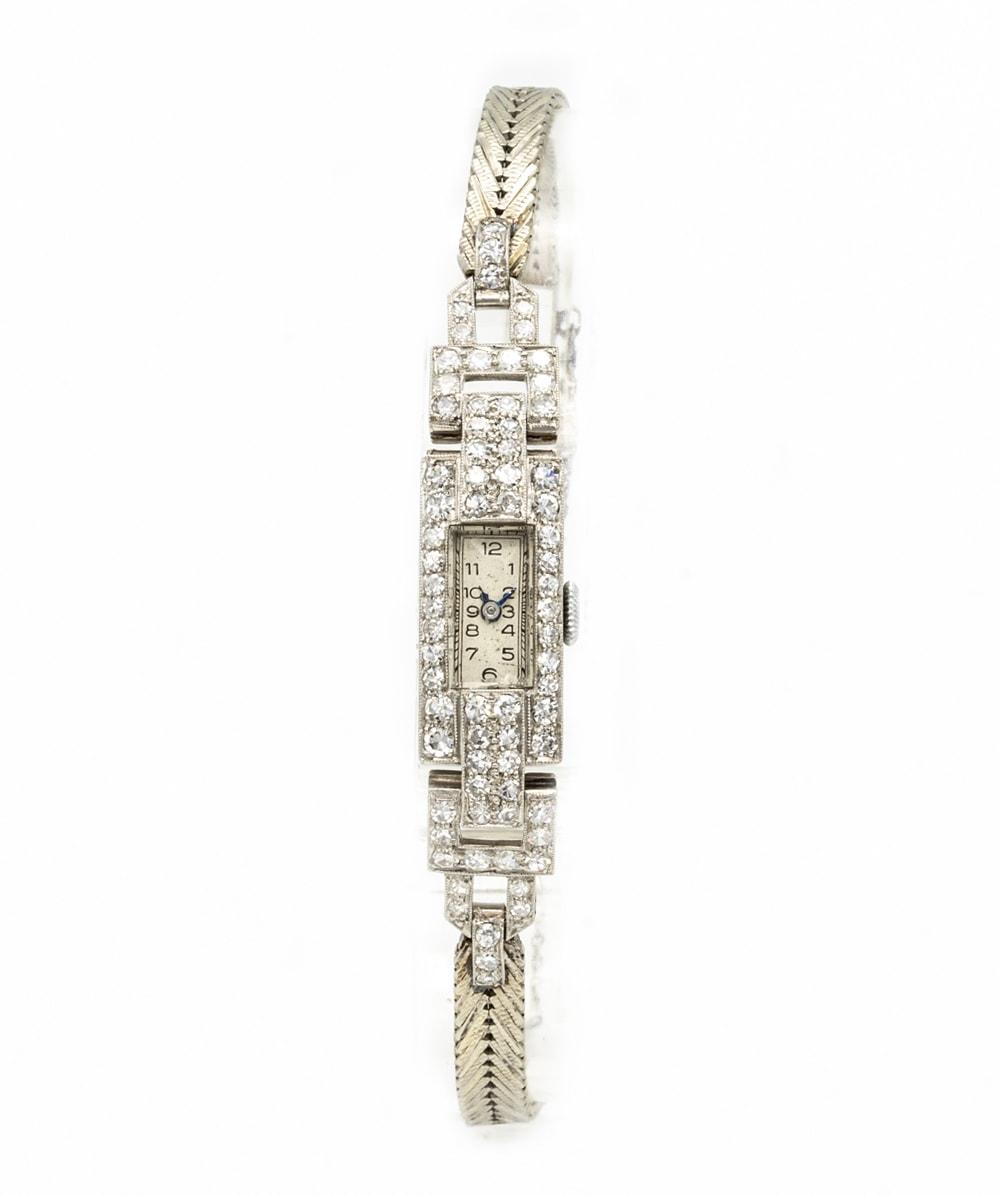 Damen Deko-Schmuckuhr Diamanten 750er Weißgold
