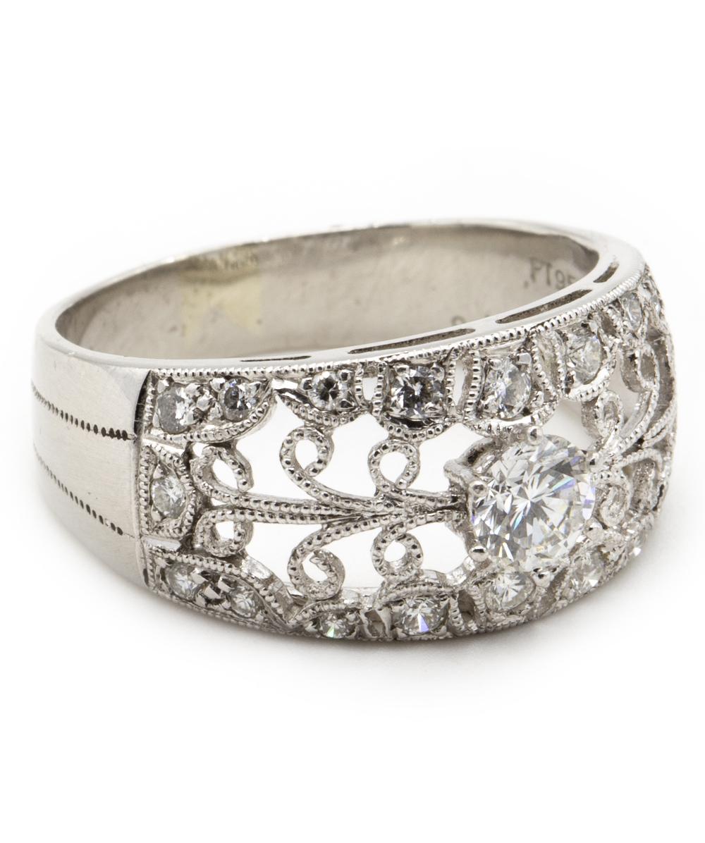 Ring mit Brillanten und Diamanten 950er Platin