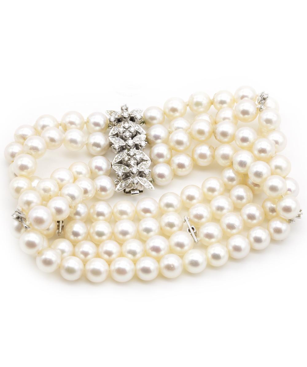 Armband mit Perlen Diamanten und Brillanten 585er Weißgold