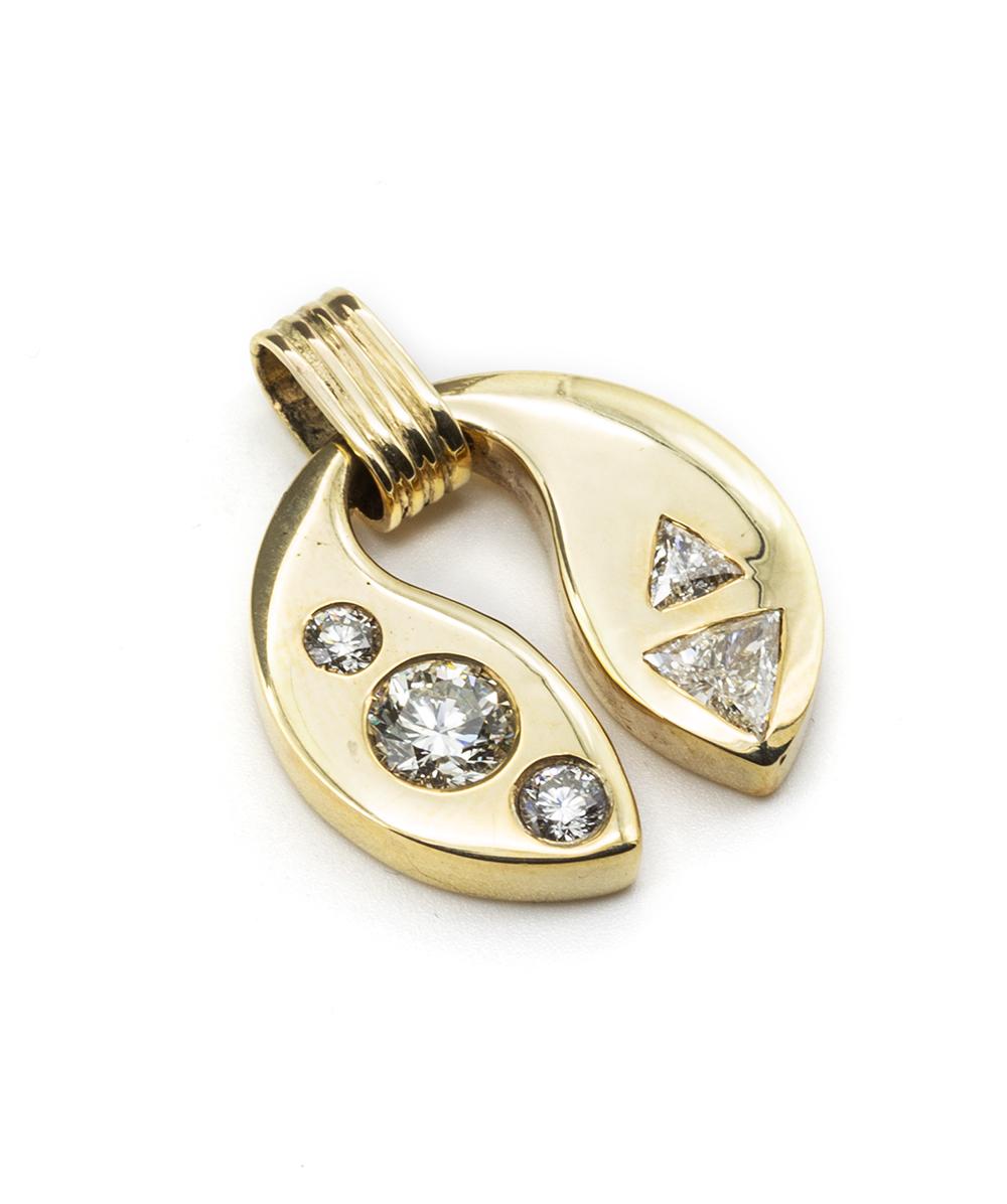 Anhänger mit Brillanten und Diamanten 450er / 585er Gold